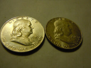 1949 & 1949 D FRANKLIN HALVES AU/BU  LOT 6O