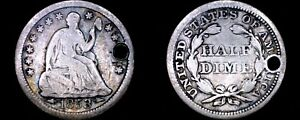 1853 P SEATED LIBERTY SILVER HALF DIME   HOLED   ARROWS