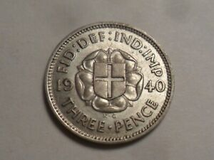1940 NICE HIGH GRADE GREAT BRITAIN 50  SILVER THREEPENCE LOW MINTAGE 7 914 000