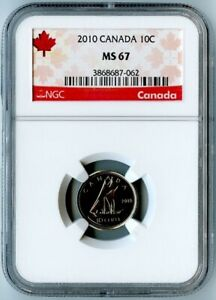2010 CANADA NGC MS67 DIME 10C  2ND HIGHEST GRADE