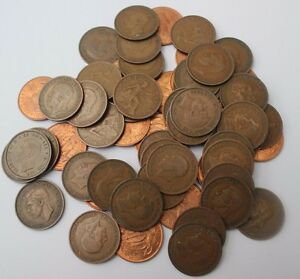 10 X OLD ENGLISH HALF PENNY COINS   DIFFERENT DATES   1.95