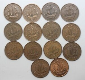 COMPLETE SET OF GB HALFPENNIES FROM 1953   1967  14 COINS