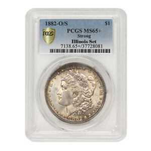 Click now to see the BUY IT NOW Price! FINEST KNOWN 1882 O/S $1 SILVER MORGAN DOLLAR PCGS MS65  GEM STRONG ILLINOIS SET