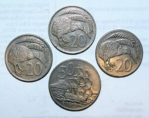 NEW ZEALAND COINS 1975   1986 LOT 50 20 CENTS BIRD ANIMAL FINE COLLECTIBLES