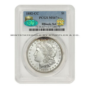 Click now to see the BUY IT NOW Price! 1882 CC $1 SILVER MORGAN PCGS MS67  CAC CERTIFIED PQ ILLINOIS SET CARSON CITY