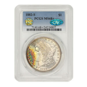 Click now to see the BUY IT NOW Price! 1882 S $1 SILVER MORGAN PCGS MS68  CAC CERTIFIED PQ ILLINOIS SET SAN FRANCISCO