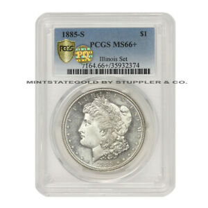 Click now to see the BUY IT NOW Price! 1885 S $1 SILVER MORGAN PCGS MS66  PQ APPROVED ILLINOIS SET SAN FRANCISCO DOLLAR
