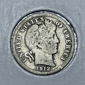 1912 D BARBER  SILVER ONE DIME IN GOOD CONDITION