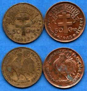 FRENCH EQUATORIAL AFRICA LOT A : 50 CENTIMES 1942   1943 NICE COLONIAL COINS