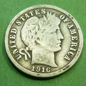 1916 BARBER LIBERTY DIME  16BD   BETTER GRADE COIN