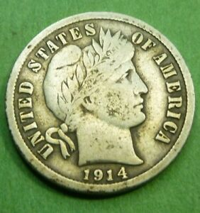 1914D BARBER LIBERTY DIME  14DBD   BETTER GRADE COIN