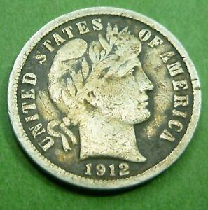 1912 BARBER LIBERTY DIME  12BD   BETTER GRADE COIN