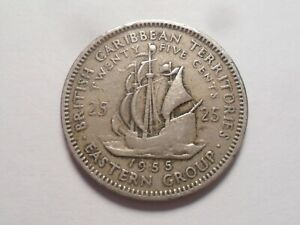 1955 NICE EASTERN CARRIBEAN COPPER NICKEL 25 CENT LOW MINTAGE 7 000 000