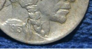 1913 D BUFFALO NICKEL   TYPE 1   VF/XF    FULL HORN   DOUBLED CHIN LIPS NOSE