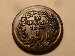 1890  M  NICE MEXICO COPPER ONE CENTAVOS LOW MINTAGE 18 726 000