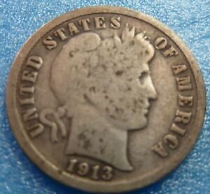 1913 BARBER LIBERTY DIME  BD13 6 BETTER GRADE