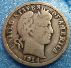 1914 BARBER LIBERTY DIME  BD14 8 BETTER GRADE