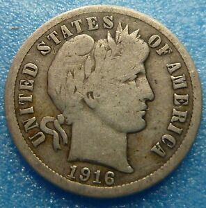1916 BARBER LIBERTY DIME  BD16 9 BETTER GRADE