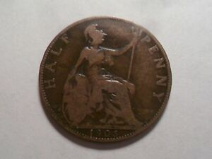 1905 NICE GREAT BRITAIN BZ HALF PENNY MINTAGE 10 124 800 OLD ENGLISH COLLECTION