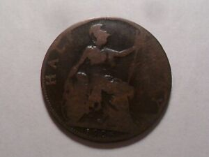 1906 NICE GREAT BRITAIN BZ HALF PENNY MINTAGE 11 101 440 OLD ENGLISH COLLECTION