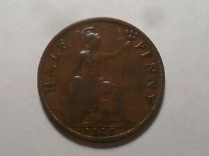 1927 NICE GREAT BRITAIN BZ HALF PENNY MINTAGE 15 589 622 OLD ENGLISH COLLECTION