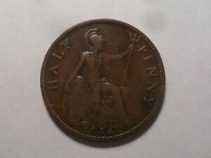 1934 NICE GREAT BRITAIN BZ HALF PENNY MINTAGE 7 704 000 OLD ENGLISH COLLECTION