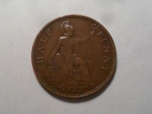 1936 NICE GREAT BRITAIN BZ HALF PENNY MINTAGE 19 807 000 OLD ENGLISH COLLECTION
