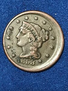 1853 BRAIDED HAIR LARGE CENT OFF CENTER ERROR US COIN