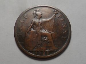 1928 NICE  GREAT BRITAIN COPPER HALF PENNY MINTAGE 20 935 000