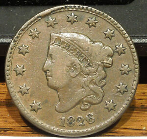 1826 LARGE CENT   OBV CUD   N5    NICE COLOR & DETAIL   NICE COIN