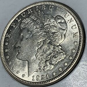 1921 P MORGAN SILVER DOLLAR AU    TO UNCIRCULATED MINT STATE DETAILS
