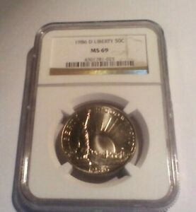1986 D LIBERTY HALF DOLLAR 50C MS 69 NGC CERTIFIED COMMEMORATIVE 50 CENT