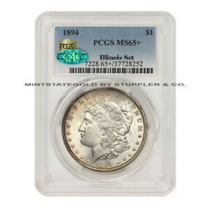 Click now to see the BUY IT NOW Price! 1894 $1 MORGAN DOLLAR PCGS MS65  CAC CERTIFIED SILVER GEM COIN ILLINOIS SET