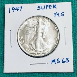 1947 WALKING LIBERTY HALF DOLLAR SUPER MS COLLECTORS GRADE SUPER LUSTER