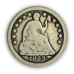 1853 SEATED LIBERTY HALF DIME W/ ARROWS TINY SILVER EARLY TYPE COIN [3819.12]