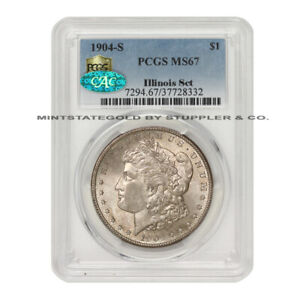 Click now to see the BUY IT NOW Price! 1904 S $1 SILVER MORGAN PCGS MS67 CAC CERTIFIED ILLINOIS SET SAN FRANCISCO COIN