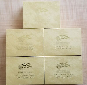 5 X 2007 FIRST SPOUSE SERIES GOLD PROOF COIN BOX W/ COA CARD  MADISON   NO COIN
