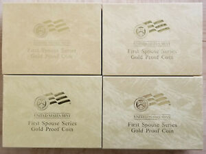 4 X 2007 FIRST SPOUSE SERIES GOLD PROOF COIN BOX W/ COA CARD  JEFFERSON  NO COIN