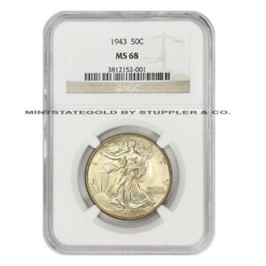 Click now to see the BUY IT NOW Price! 1943 50C SILVER WALKING LIBERTY NGC MS68 GEM GRADED HALF DOLLAR FIFTY CENT COIN