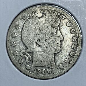 1908 P BARBER SILVER QUARTER IN NICE HISTORIC CONDITION