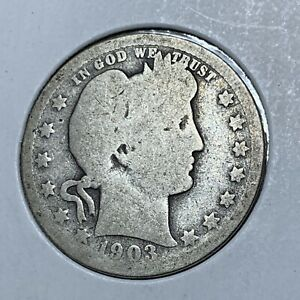 1903 P BARBER SILVER QUARTER IN NICE HISTORIC CONDITION
