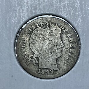 1892 P BARBER  SILVER ONE DIME IN