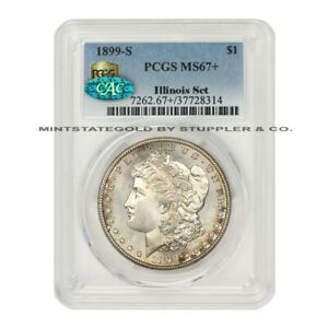 Click now to see the BUY IT NOW Price! TIED FOR FINEST 1899 S $1 MORGAN SILVER DOLLAR PCGS MS67  CAC COIN ILLINOIS SET