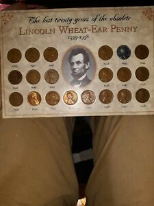LAST 20 YEARS OF THE OBSOLETE LINCOLN WHEAT EAR PENNY 1939 1958 SET OF 20 COINS