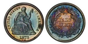 Click now to see the BUY IT NOW Price! 1872 PROOF SEATED LIBERTY HALF DIME PCGS PR 65.  MONSTER RAINBOW TONING