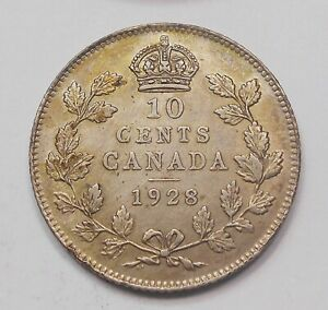 1928 TEN CENTS EF  HIGH GRADE BEAUTIFUL BETTER KING GEORGE V SILVER CANADA DIME