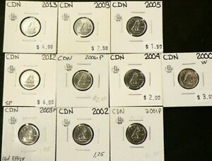 2000W TO 2013 CANADA 10 CENTS UNC LOT OF 10 4389