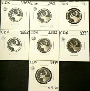 1981 TO 1995 CANADA 25 CENTS LOT OF 7 PROOF 5848