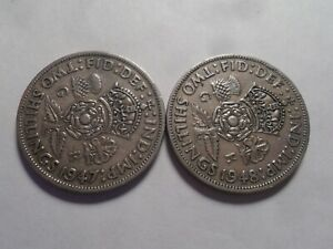 1947 1948 NICE GREAT BRITAIN COPPER NICKEL TWO SHILLING 2 PC SET