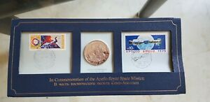 1975 COMMEMORATION OF THE APOLLO SOYUZ MISSION SPATIALE STERLING SILVER MEDAL/CO